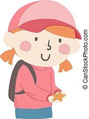 gwiazda, fish, ilustracja, dziewczyna, utrzymywać, koźlę