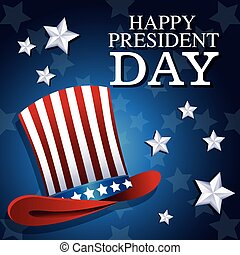 gwiazda, górny, tło, patriotyczny, prezydent, kapelusz, dzień, szczęśliwy
