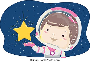 gwiazda, ilustracja, astronauta, dziewczyna, utrzymywać, koźlę