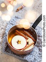 gwiazda, jabłko, anyż, jabłecznik, gorący, cynamon, upadek