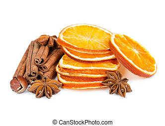 gwiazda, kromki, anyż, pomarańcza, zasuszony, cynamon