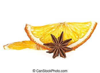 gwiazda, kromki, anyż, zasuszony, tło, pomarańcza, biały