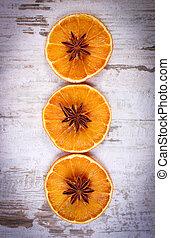 gwiazda, kromki, drewniany, anyż, zasuszony, tło, pomarańcza, stary