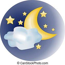 &, gwiazda, księżyc