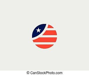 gwiazda, logotype., krajowy, pasy, na, okrągły, bandera, wektor, logo, amerykański symbol, design.