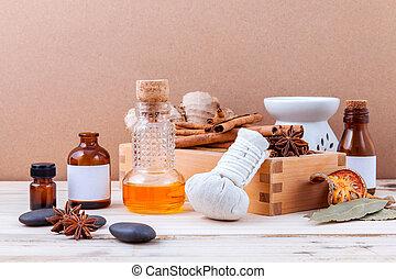 gwiazda, nafta, butelka, drewniany, liście, anyż, ognisko,...