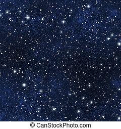 gwiazda, niebo, wypełniony, noc