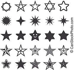 gwiazda, płaski, icon., znak, gwiazda