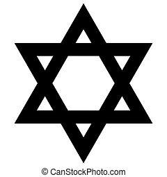 gwiazda, poznaczcie., judaism., wektor, david., religijny, format.