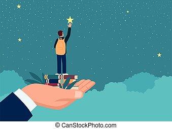 gwiazda, ręka, podnoszenie, człowiek, do góry, szkoła chłopiec, osiągać