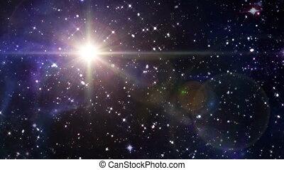 gwiazda, soczewka migoczą, w, przestrzeń, żółty