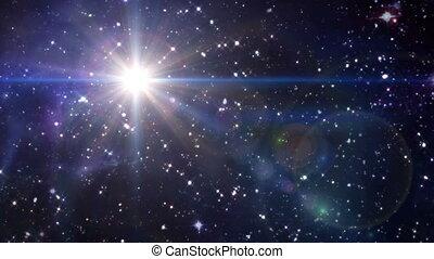 gwiazda, soczewka migoczą, w, przestrzeń, błękitny, kolor