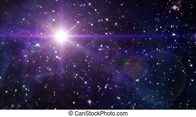 gwiazda, soczewka migoczą, w, przestrzeń, kolor