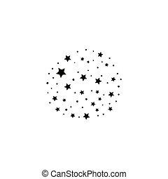 gwiazda, tło., ciągnąć, elegancki, czarnoskóry, biały,...