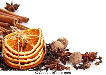gwiazda, wtyka, anyż, pomarańcza, cynamon, zasuszony