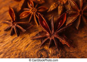 gwiazda, wtyka, drewniany, anyż, cynamon, tło
