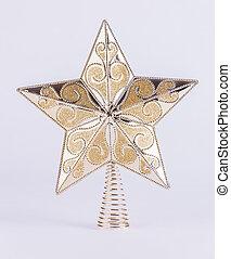 gwiazda, złoty, drzewo, ozdoba, tło, białe boże narodzenie