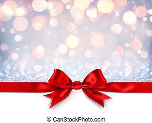 gwiazdkowy dar, -, łuk, wstążka, tło, błyszczący, srebro, czerwony