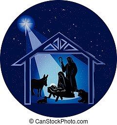 gwiazdkowy nativity scena, w nocy