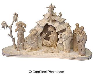 gwiazdkowy nativity scena, z, drewniany, figury