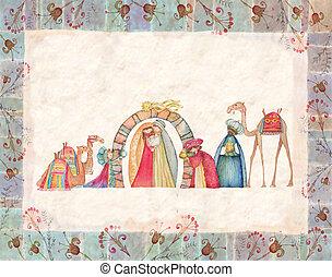gwiazdkowy nativity scena, z, przedimek określony przed rzeczownikami, t