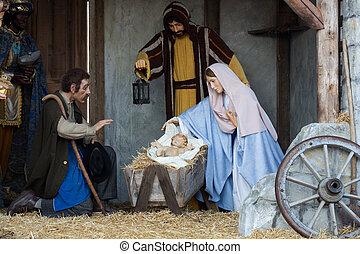 gwiazdkowy nativity scena, z, trzej mądrzy mężczyźni, przedstawiając, dary, do, niemowlę jezus, mary & joseph
