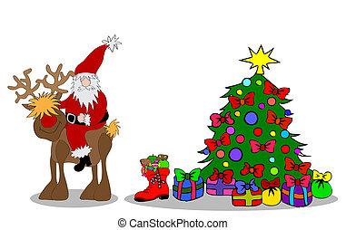 Drzewo, claus, kontury, święty, boże narodzenie. Claus ...