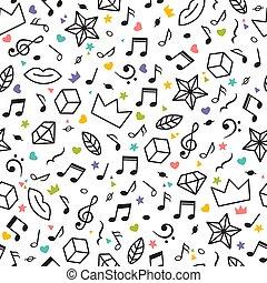 gwiazdy, elements., notatki, doodle, serca, nowoczesny, seamless, theme., inny, muzyka, tło modelują, pociągnięty, geometryczny, ręka