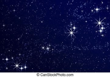 gwiazdy, w, przedimek określony przed rzeczownikami, niebo nocy