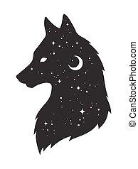 gwiazdy, wilk, księżyc, sylwetka