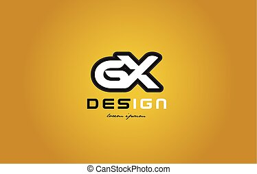 gx g x alphabet letter combination digit white on yellow background