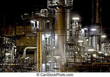 gyár, éjszaka