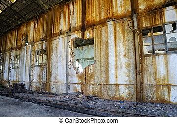 gyár, öreg, tönkretesz