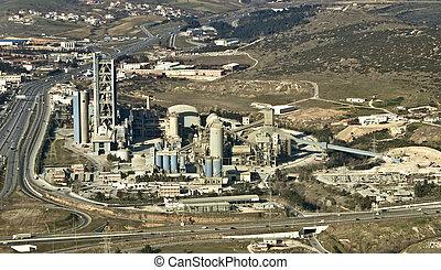 gyár, antenna, cement