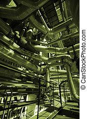 gyár, ipari, csővezetékek, sors