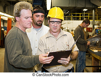 gyár munkás, belső, vizsgál