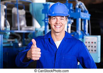 gyári munkás, odaad, lapozgat feláll