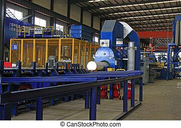 gyári, termelés felszerelés, alatt, a, gyár
