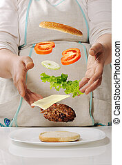 gyártás, cheeseburger, otthon