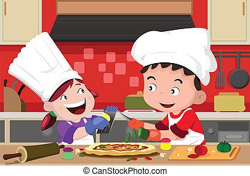 gyártás, gyerekek, konyha, pizza