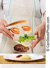 gyártás, hamburger, alkatrészek, fogalom