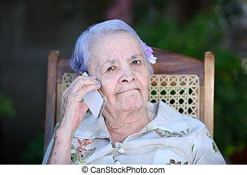 gyártás, nagyanyó, hívás, telefon