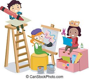 gyártás, rajzóra, gyerekek, stickman, mesterkedik
