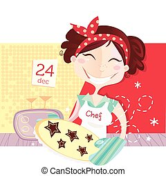 gyártás, süti, nő, karácsony