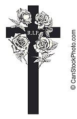 gyászjelentés, mód, fogalom, háttér, kártya, szín, szüret, temetés, modern, díszítés, kereszt, elszigetelt, meghívás, agancsrózsák, tervezés, sablon, húzott, fekete, fehér, kéz, bevésett