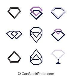 gyémánt, állhatatos, bélyegez, ábra, vektor, tervezés, element., collection., jel, egyesített, template., személyazonosság