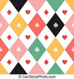 gyémánt, színes, díszkíséretek, sakkjáték, háttér, kártya, bizottság