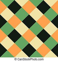 gyémánt, zöld, sakkjáték, háttér, narancs, bizottság