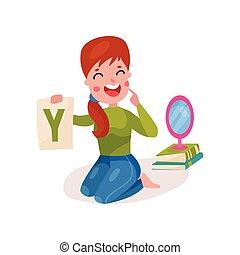 gyógyász, mosolygós, női, dolgozó, emelet, kiállítás, ülés, ábra, tanár, óvoda, vektor, beszéd, levél, karikatúra, színes, gyerekek, y