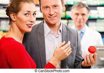 gyógyszerész, noha, vásárlók, alatt, gyógyszertár